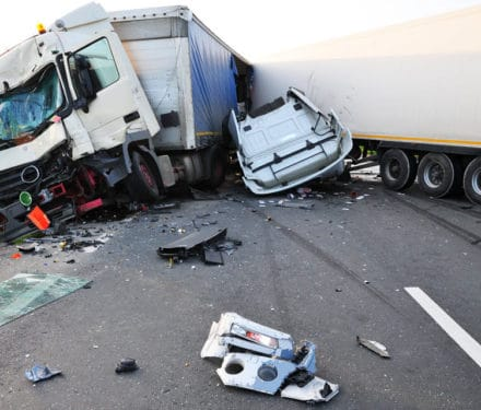 Truck badly damaged in Truck Accident